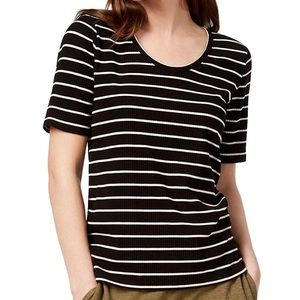 Eileen Fisher XS Tencel Striped Ribbed T-Shirt